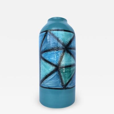 Aldo Londi Elegant Blue Green Vetrata Decor Vase by Aldo Londi for Bitossi Italy