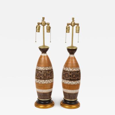 Aldo Londi Italian Sgraffito Ceramic Lamps