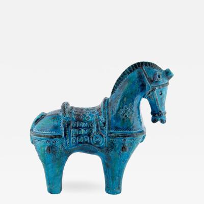Aldo Londi Large Rimini Blu ceramic horse by Aldo Londi for Bitossi circa 1960s