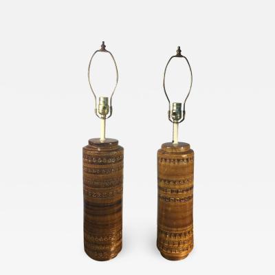 Aldo Londi MID CENTURY BITOSSI PAIR OF INCISED CERAMIC LAMPS