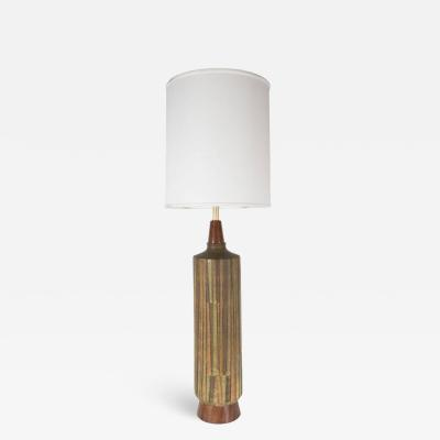 Aldo Londi Mid Century Organic Modern Ceramic Walnut Table Lamp in Earth Tones