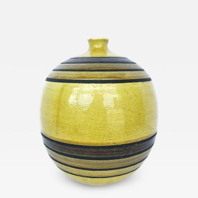 Aldo Londi Nice Large Ringed Bottle Vase by Italian Ceramic Artist Aldo Londi for Bitossi