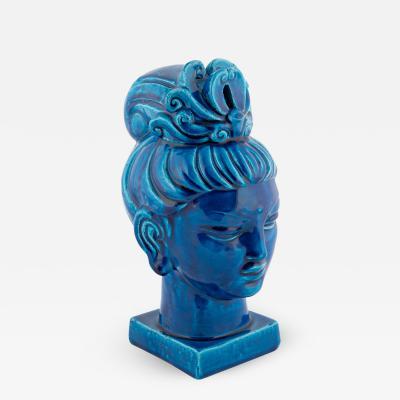 Aldo Londi Rimini Blu ceramic Guan Yin bust by Aldo Londi for Bitossi circa 1960s