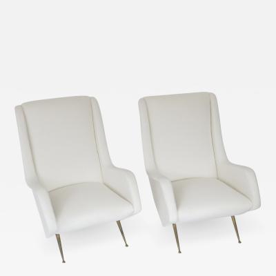 Aldo Morbelli Italian Pair of Lounge Chairs by Aldo Morbelli for ISA Bergamo