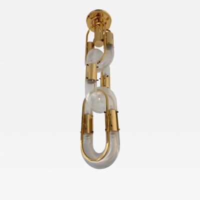 Aldo Nason Chandelier Brass Chain Murano Glass by Aldo Nason for Mazzega Italy 1970s
