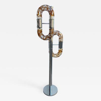 Aldo Nason Floor Lamp Metal Chrome Murano Glass by Aldo Nason for Mazzega Italy 1970s
