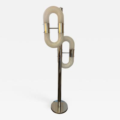 Aldo Nason Floor Lamp Metal Chrome Murano Glass by Aldo Nason for Mazzega Italy 1970s