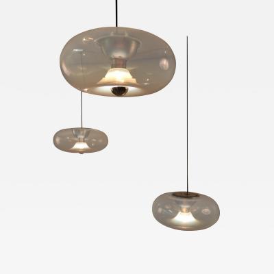 Aldo Nason Set of Three Aldo Nason for Leucos Medusa Opaline Murano Glass Pendant Lights