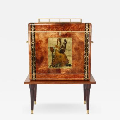 Aldo Tura 1950s Aldo Tura Goatskin Bar Cabinet with Serving Tray