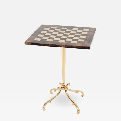 Aldo Tura 1950s Aldo Tura Goatskin Games Table with Brass Base