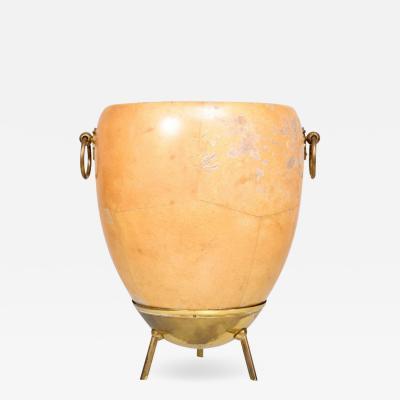 Aldo Tura 1950s Aldo Tura Goatskin and Brass Ice Champagne Bucket Midcentury