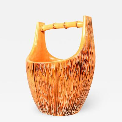 Aldo Tura 1950s Aldo Tura Ice Bucket for Macabo in Carved Wood and Bamboo Midcentury