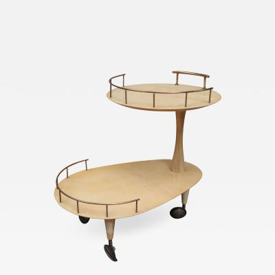 Aldo Tura A Parchment and Brass Bar Cart by Aldo Tura Italy 1950