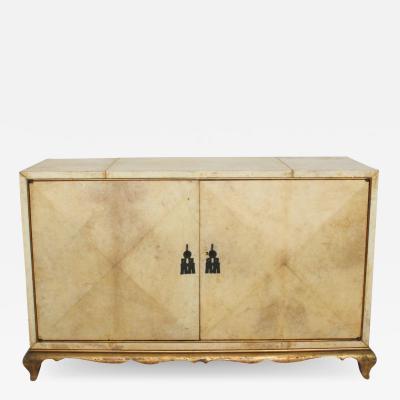 Aldo Tura ALDO TURA Elegant Goatskin Gilt Cabinet in Blonde Parchment 1960s Italy