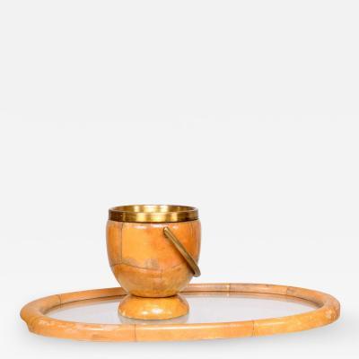 Aldo Tura ALDO TURA Italian Goatskin Brass Bar Set Ice Bucket Serving Tray 1950s