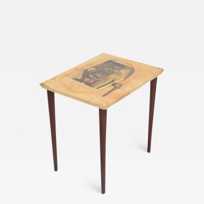 Aldo Tura ALDO TURA Side Table Goat Skin Mahogany Fornasetti Renaissance Art ITALY 1950s