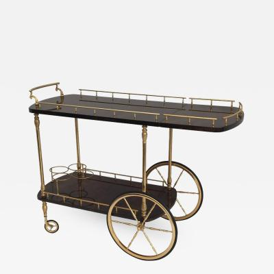 Aldo Tura Aldo Tura Drop Leaf Bar Cart in Brown Parchment