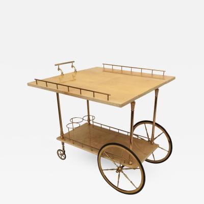 Aldo Tura Aldo Tura Drop Leaf Bar Cart in Cream Parchment