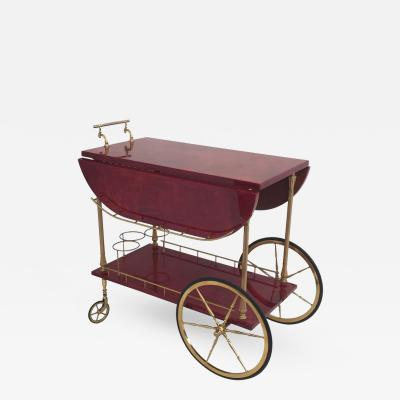 Aldo Tura Aldo Tura Drop Leaf Bar Cart in Red Parchment