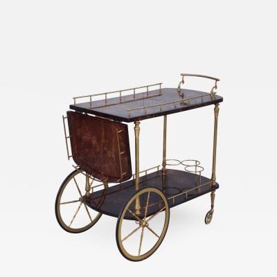 Aldo Tura Aldo Tura Goatskin Lacquered Bar Cart