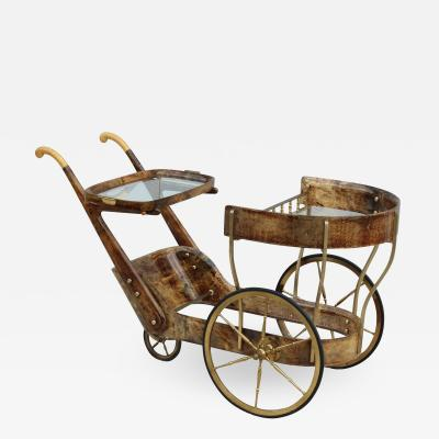 Aldo Tura Aldo Tura Goatskin Modernist Bar Cart