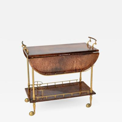 Aldo Tura Aldo Tura Goatskin Parchment Drop Leaf Bar or Tea Cart Trolley