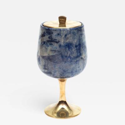 Aldo Tura Aldo Tura Goatskin Parchment and Brass Ice Bucket Italy 1960s