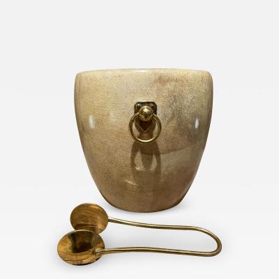 Aldo Tura Aldo Tura Golden Goatskin Leather Brass Ice Bucket Tongs ITALY 1950s Milano