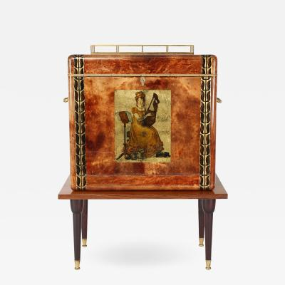 Aldo Tura Aldo Tura Illuminated Bar In Lacquered Goatskin 1970s