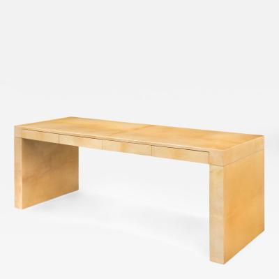 Aldo Tura Aldo Tura Italian Four Drawer Ivory Colored Parchment Desk Console Table