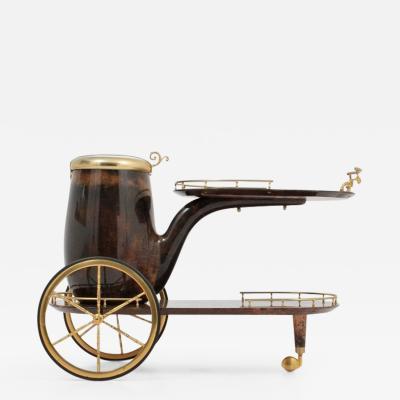 Aldo Tura Aldo Tura Lacquered Goatskin Bar Cart
