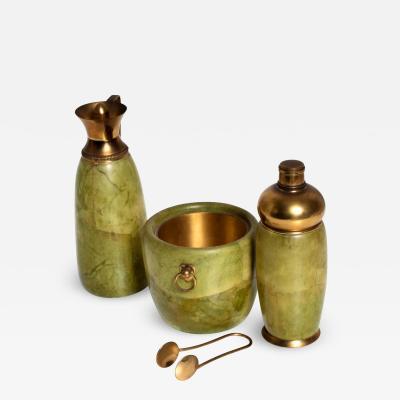 Aldo Tura Aldo Tura MACABO Bar Set Ice Bucket Carafe Shaker Goatskin Brass ITALY 1950s