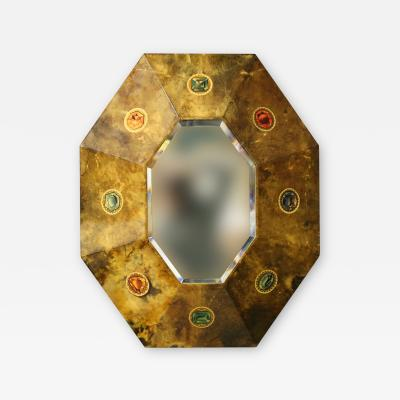 Aldo Tura Aldo Tura Rare MidCentury Mirror in parchment with original label 1950s