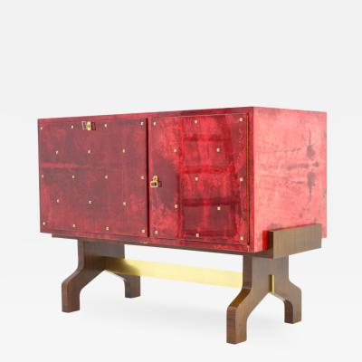 Aldo Tura Aldo Tura Red Goatskin Sideboard with Bar and Refrigerator Italy 1968