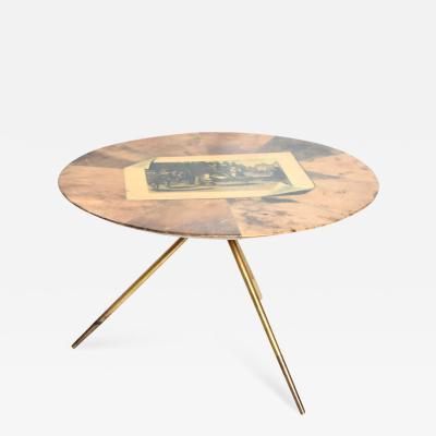 Aldo Tura Aldo Tura Regency Round Side Table Goatskin Parchment Brass Legs 1950s Italy