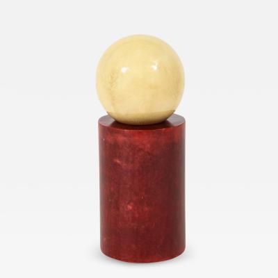 Aldo Tura Aldo Tura Sculpture Lacquered Goatskin Parchment Red Cream Signed Italy 1970s