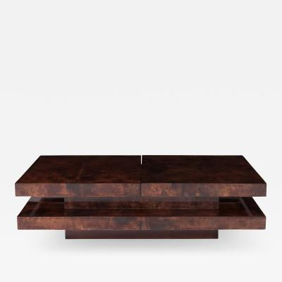 Aldo Tura Aldo Tura Two Tier Sliding Coffee Table With Hidden Bar 1970s