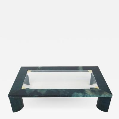 Aldo Tura Aldo Tura green parchment coffee table from 1960