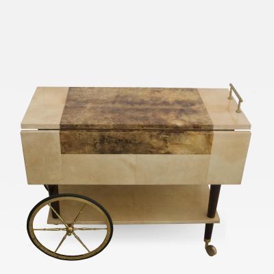 Aldo Tura Bar Cart in Goatskin and Polished Brass