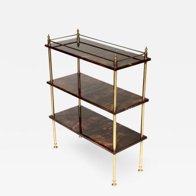 Aldo Tura Bookcase by Aldo Tura in goatskin and brass