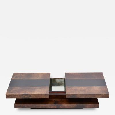 Aldo Tura Brown Italian Two Tiered Sliding Coffee Table with Hidden Bar by Aldo Tura