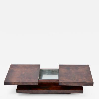 Aldo Tura Brown Italian Two Tiered Sliding Coffee Table with hidden bar by Aldo Tura