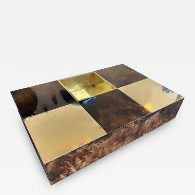 Aldo Tura Coffee Table Bar Lacquered Goatskin and Brass by Aldo Tura Italy 1970s