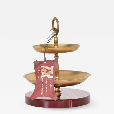 Aldo Tura Divine Red Goatskin Brass Two Tiered Candy Dish by Aldo Tura MILANO 1960s