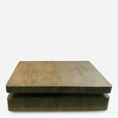 Aldo Tura EXCEPTIONAL DUAL DESIGN GOATSKIN COFFEE TABLE BY ALDO TURA