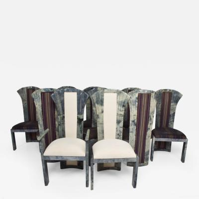 Aldo Tura Hollywood Regency Dramatic High Back Dining Chairs 10 Gray Goatskin Aldo Tura