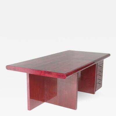 Aldo Tura Important Tura Desk in Red Vellum
