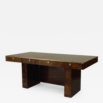 Aldo Tura Italian 1940 1950s Brown Parchment Veneer Desk