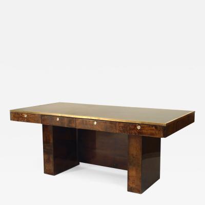 Aldo Tura Italian 1940 1950s Parchment Veneer Desk