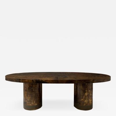 Aldo Tura Lacquered Goatskin Dining Table Desk by Aldo Tura